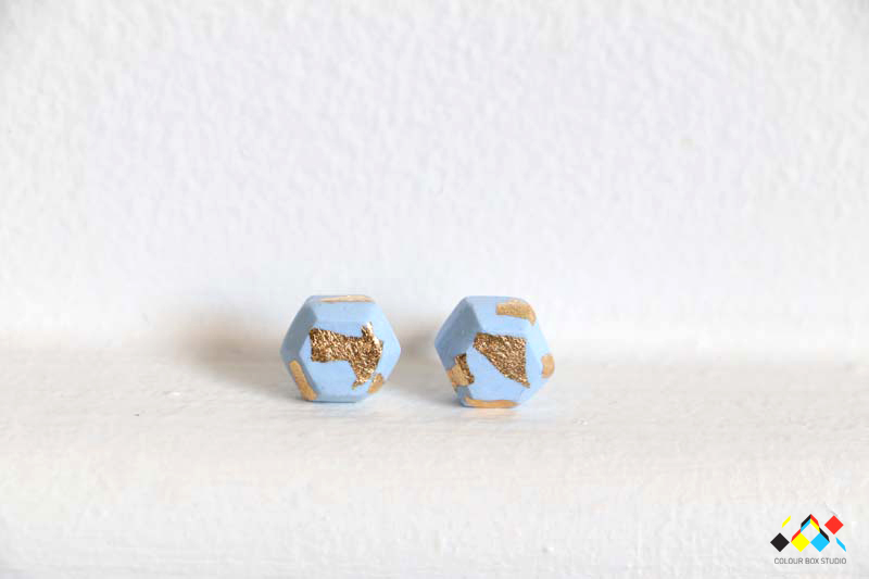 Aacute Earrings Baby Blue Gold Leaf Front - Colour Box Studio Online Shop