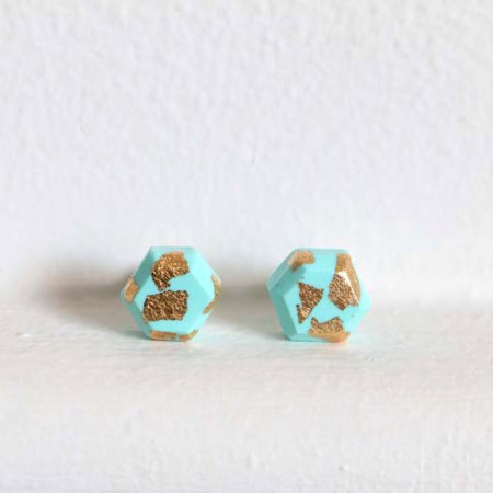 Aacute Earrings Mint Gold Leaf Front - Colour Box Studio Online Shop