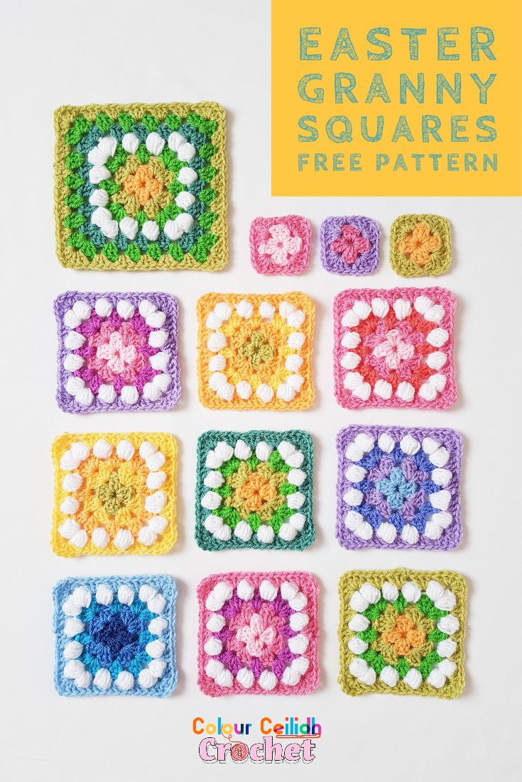 Easy crochet granny squares using the basic granny stitch in beautiful spring colour combinations