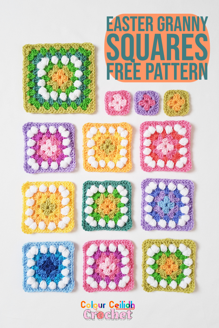 Colorful and cheerful granny squares with granny and puff stitch.