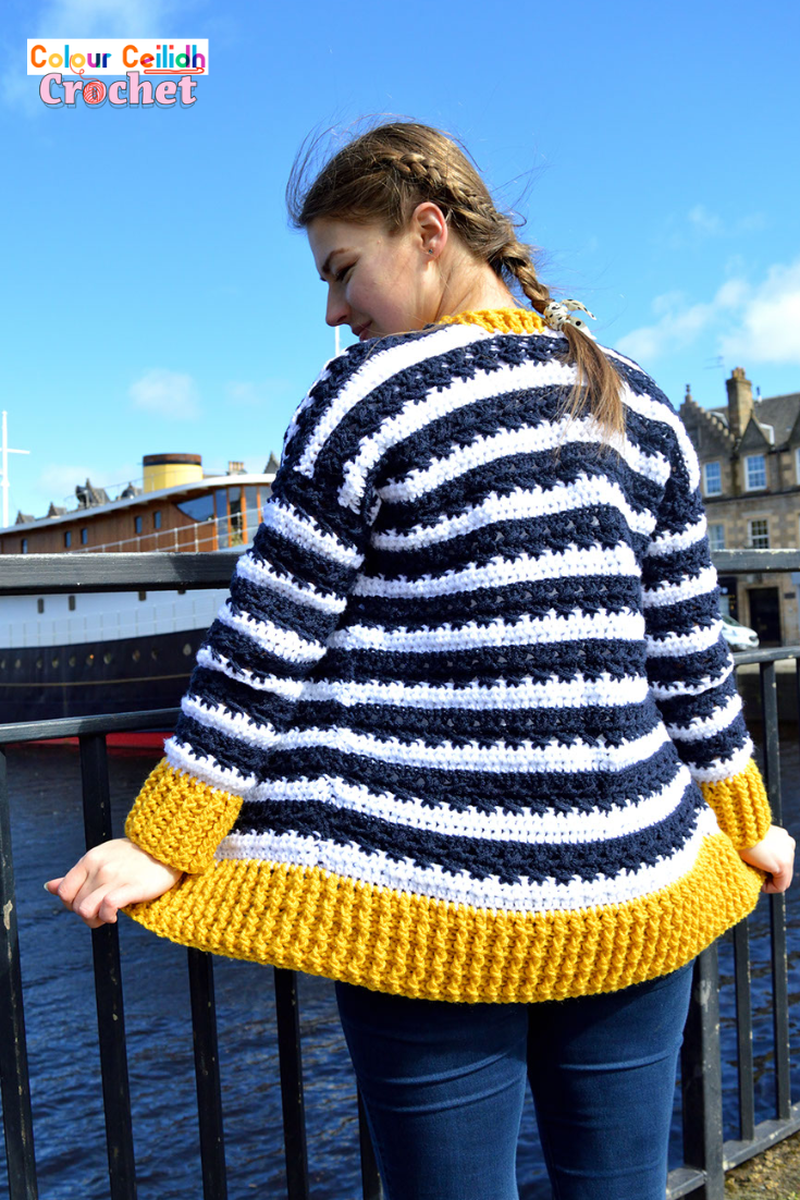 Without having to cut the yarn between stripes, this feminine crochet nautical cardigan is super easy and enjoyable to make. I can't tell you how much fun I had using just half double crochet and double crochet stitches to create such a beautiful effect between the stripes and a subtle kind of cable-y and lacy effect going on in the navy stripes! And of course it's super fast to make, because I'm using good old tried and tested stitches. What is more, this crochet cardigan pattern is free and includes an easy Youtube video tutorial, where you can see the close up of the fabric.