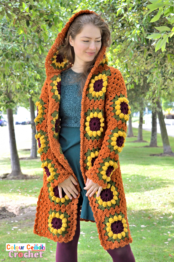 This vintage look crochet sunflower cardigan coat is long, comes with a fairytale style hood & fun side slits. The sunflower granny square is easy to make as it's only 4 rounds. This free pattern comes in 9 sizes & includes a YouTube video tutorial.