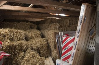 At the other end, straw and my new door.
