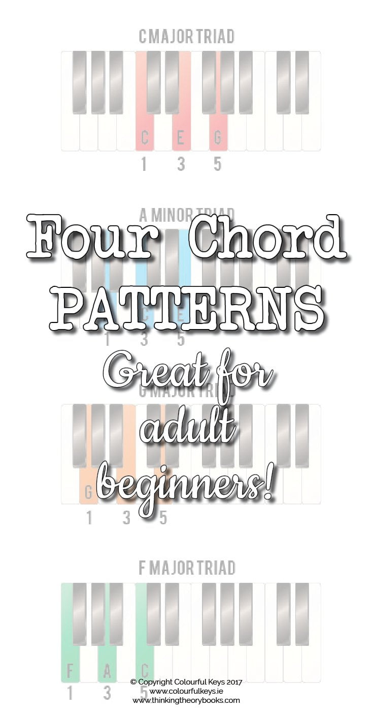 Four chord patterns for adult piano students