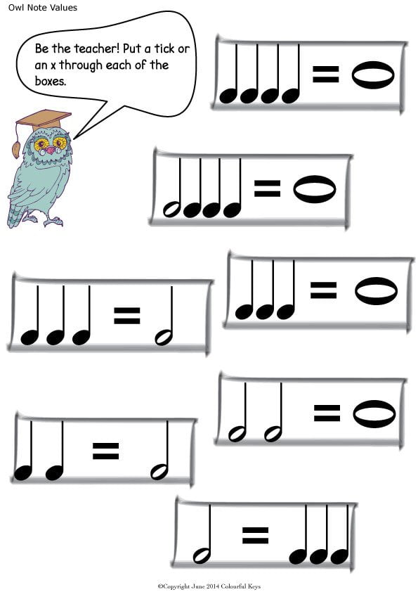 Note values worksheets with Owls and Balloons