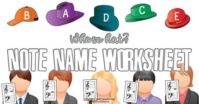 Whose hat? – Beginner Grand Staff Worksheet for Note Names