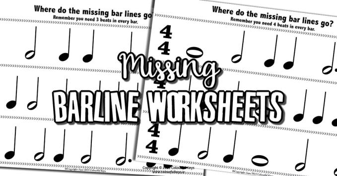 Barline Worksheets for Reviewing Beginning Time Signatures