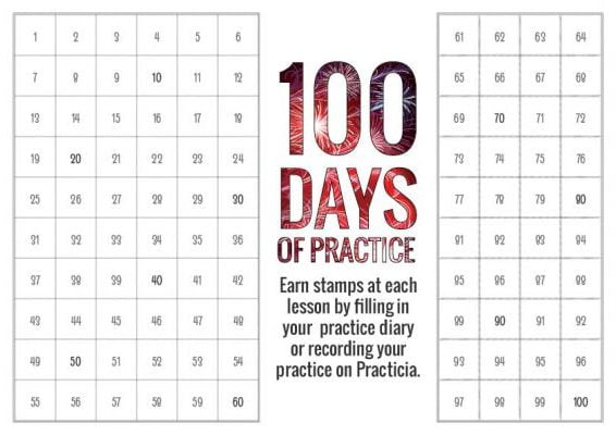 100 days of piano practice stamp sheet