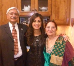 With her parents - Mr. & Mrs. Sabarwal