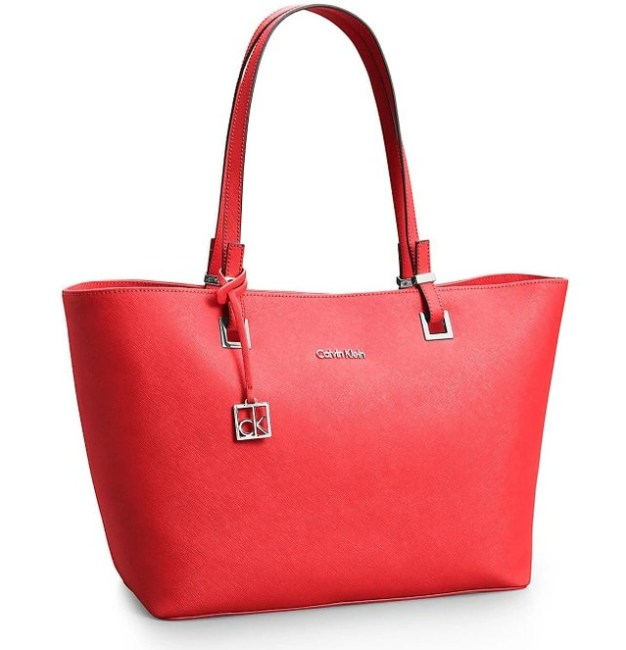 d12361a9412 Calvin Klein Scarlett Saffiano Leather Shopper Tote Bag Red Cerise ...