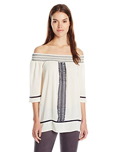 Women's Three-Quarter Sleeve Off-Shoulder Top with Embroidery by Blu Pepper