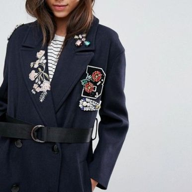 manteau orné borderies asos