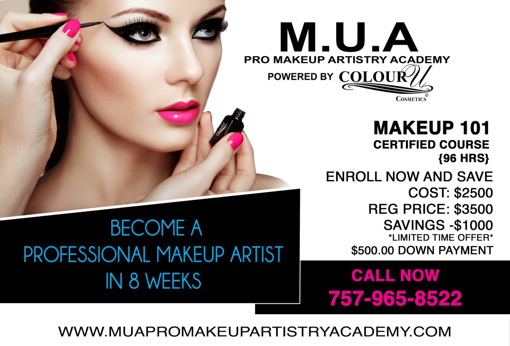 The M.U.A Pro Makeup Artistry Academy Powered by Colour U Cosmetics located in Norfolk, VA is now enrolling! Classes start soon! Click below for more info!