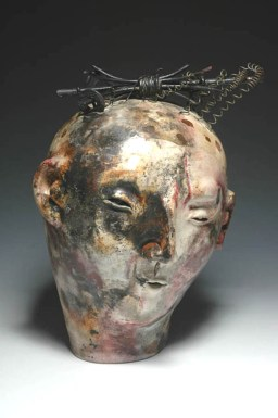 Joanne Bohannon | Robert's Head | Ceramic, found objects | 14 x 10