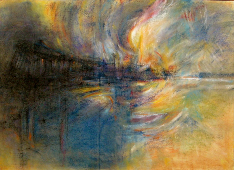 """""""Burning Pier"""" by Bob Ziering. Courtesy of the artist."""