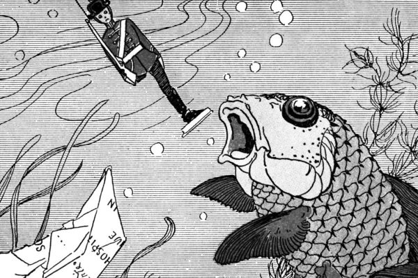 A drawing of a fish eating the tin soldier