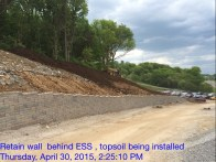 Top Soil Being Placed Behind Retaining Wall