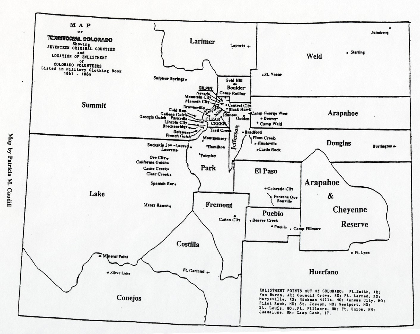 Colorado Territory Map 1861 1865 Columbine Genealogical