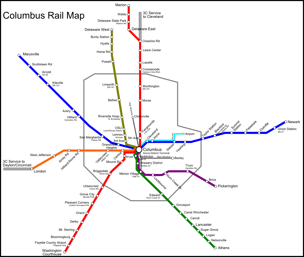 Updated Columbus Rail Map