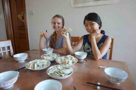 Savannah Kimble and Yolanda Yang soak up some Chinese culture.