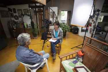 Interviewing Natividad Mercedes Delgado, conservationist and wife of famed Dominican conservationist, Jose Maria de la Cruz. Manabao, Dominican Republic.