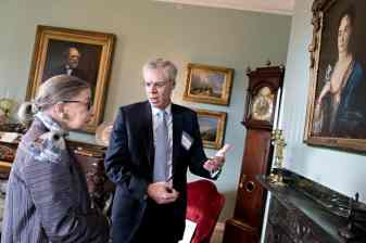 W&L President Will Dudley shows Justice Ginsburg around Lee House, the president's residence on campus.
