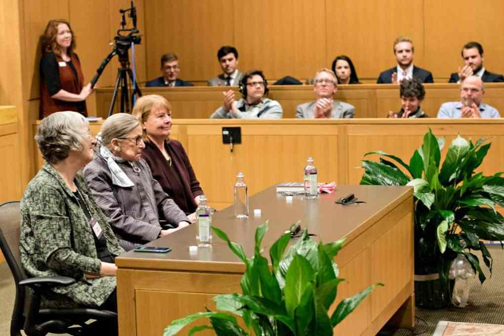 Supreme Court Justice Ruth Bader Ginsburg takes questions from students at the Washington and Lee University School of Law.