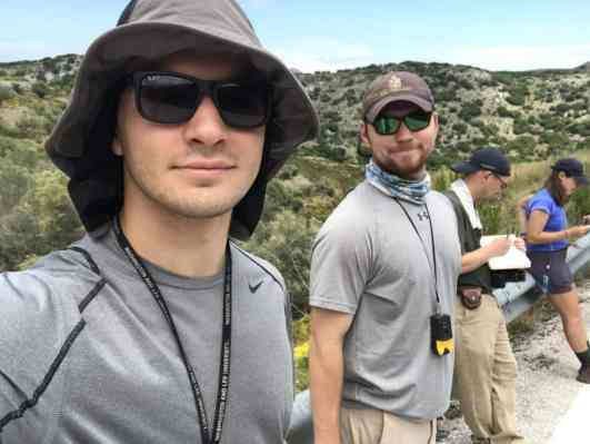 (L-R) Josh Fox '19, James Willey '18, Prof. Jeffrey Rahl, and Chantal Iosso '20 in Greece, where they conducted geology research during summer 2017.