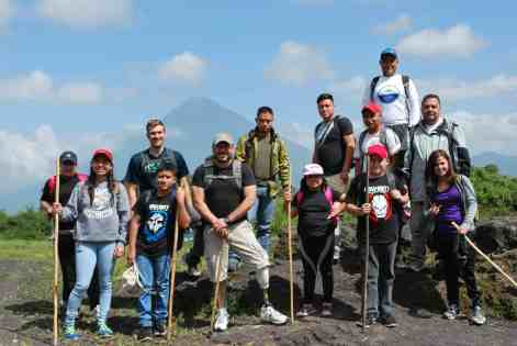 Matt Lubas '18 (third from left) hikes with fellow staff and clients of ROMP (Range of Motion Project) in Zacapa, Guatemala.