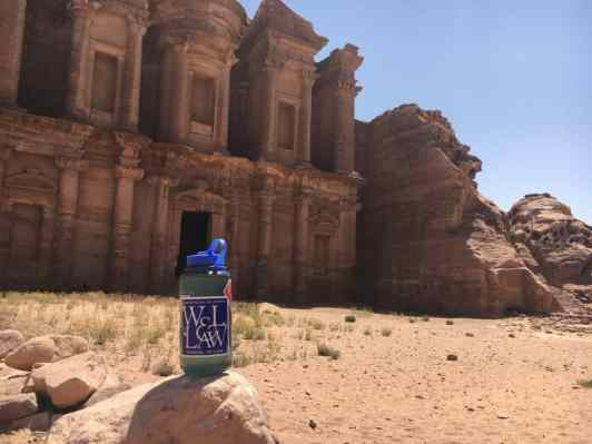 Repping W&L Law in the city of Petra, known for its rock-cut architecture.