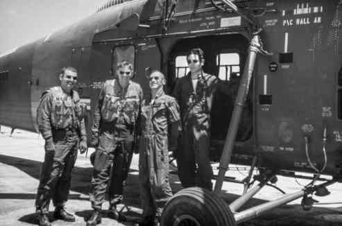 Mac Holladay (second from left) with fellow Navy pilots. Holladay served in Vietnam as a search-and-rescue pilot.