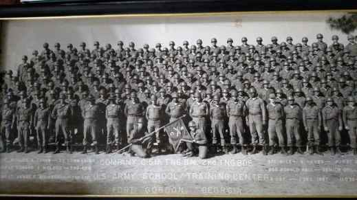 "Walter ""Buddy"" Nicklin with his basic training unit. Nicklin is in the second row from the back, fifth from the left."