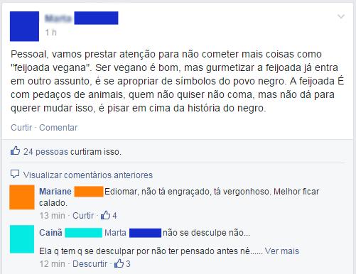 Postagem de Facebook sobre apropriação cultural