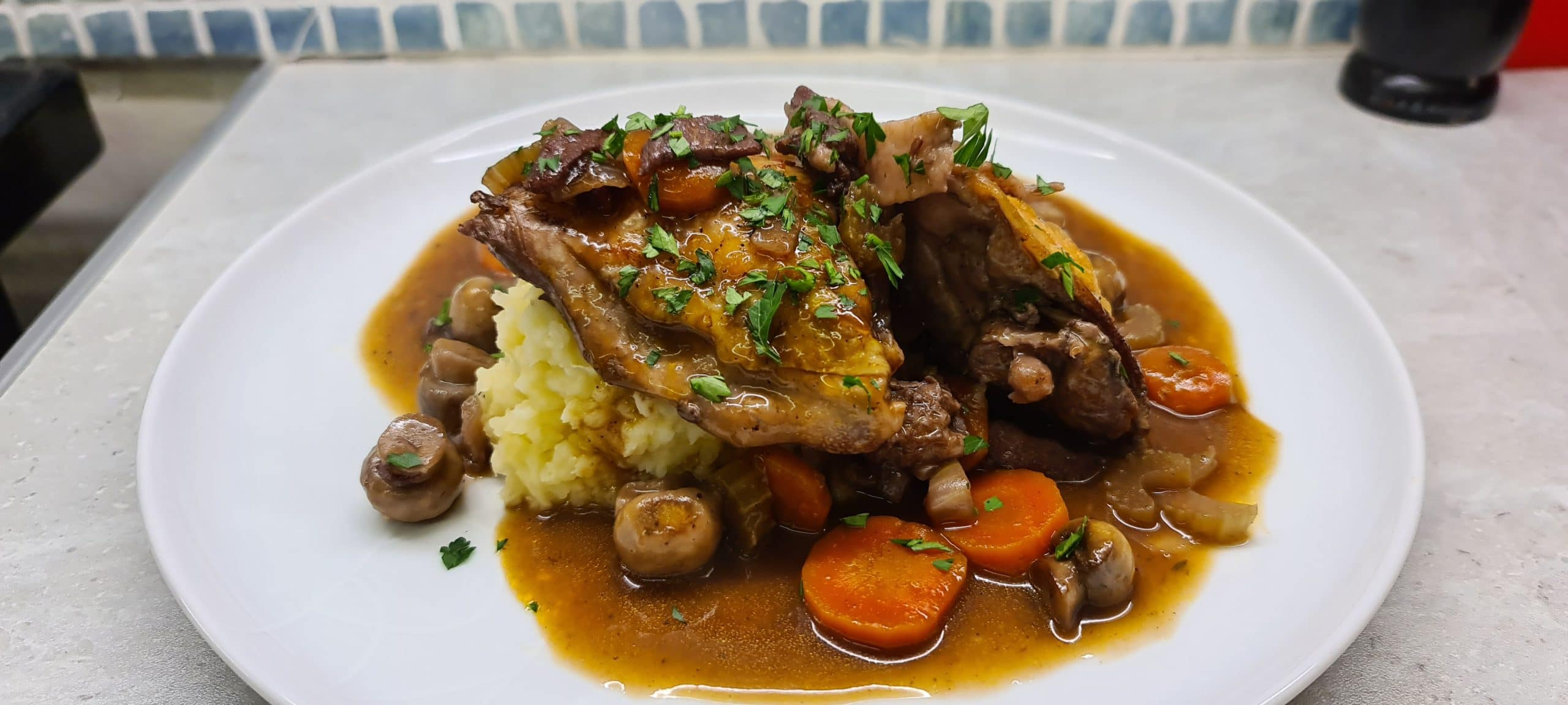 You are currently viewing Easy Coq au Vin with Potato and Celeriac Mash