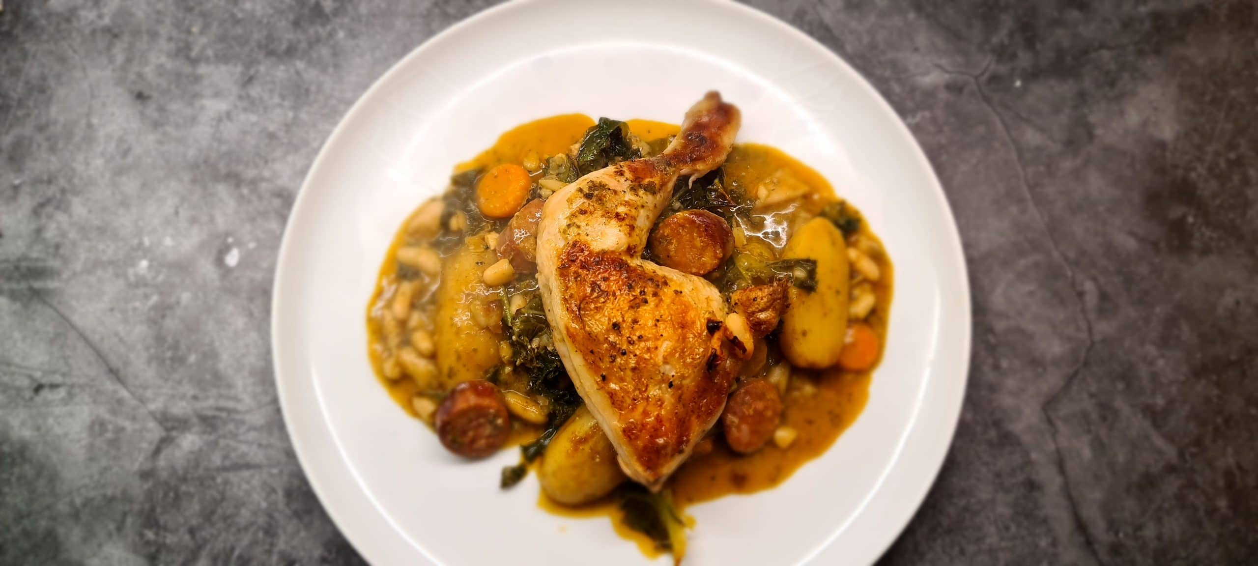 You are currently viewing Baked Chicken Leg with Chorizo, Beans, Pesto and Kale