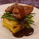 Duck Breast with potato dauphinoise and a redcurrant and Dijon sauce