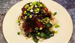 Teriyaki Chicken Thighs with Greens and Rice