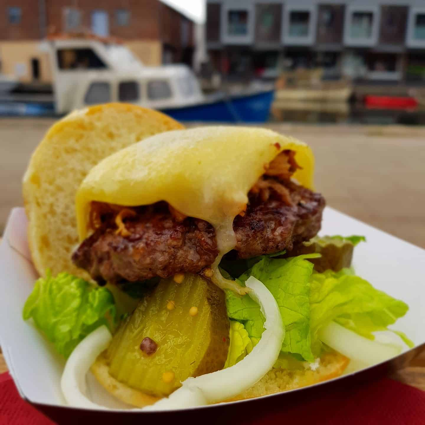 Grilled Burger With Cheese and Pickle
