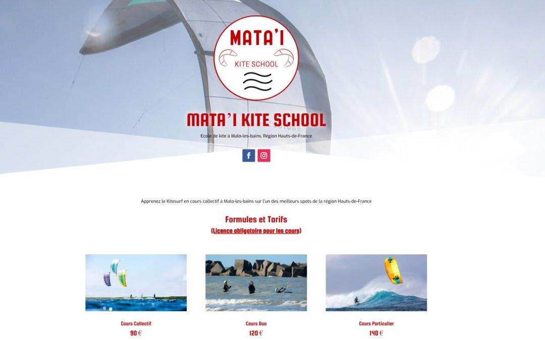 Site internet Mata'i Kite School