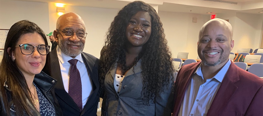 (left to right) Angelica Fromer, Dr. Roy Brooks, Delphine Leoue Ngoko Djomo, and tournament host Professor Ken Newby of Morehouse College.