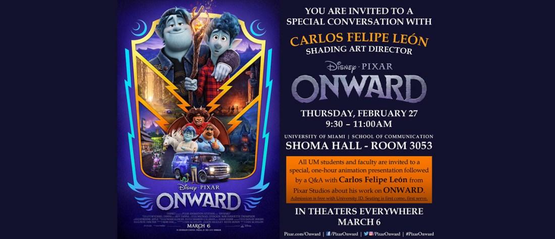 Carlos Felipe León, shading art director at Pixar Animation Studios will be at the University of Miami School of Communication on Feb. 27.