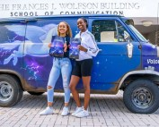 Students Stephanie Des Roches and Kianna Dorsey attended the recent School of Communication event featuring Pixar Animation Studios artist Carlos Felipe Leon. Photos: Jenny Hudak/University of Miami.