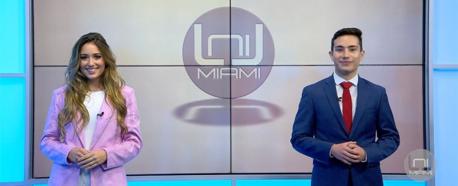 Isabella Santos and Piero Vasquez host an episode of UniMiami