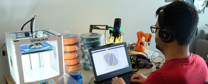 Zeven Rodriguez works from home to 3-D print face shields for the COVID-19 pandemic. Photo courtesy of Zeven Rodriguez.