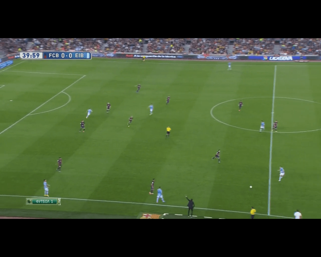 Barcelona's narrow 4-3-3 shape in defense. (Note: Xavi is stepping up as Pedro pressured the wing back and the back pass wasnt closed down.)