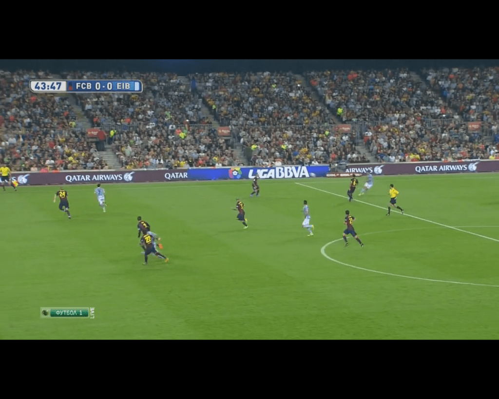 Once again Barcelona fail to pressure the ball player which led to another Eibar chance missed.