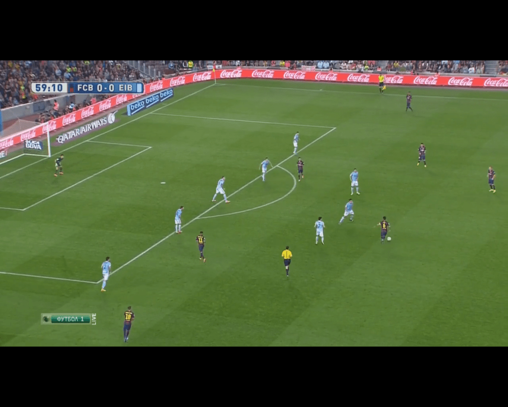 Xavi's pass to the free Messi in halfspace before his diagonal run and chipped goal.