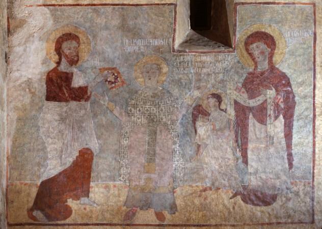 monastero di Davidank, chiesa di Katoghikè, affresco raffigurante intronizzazione di San Nicola Taumaturgo
