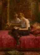 «Las actividades literarias de una damisela», de Alexei Harlamoff (1842-1922).