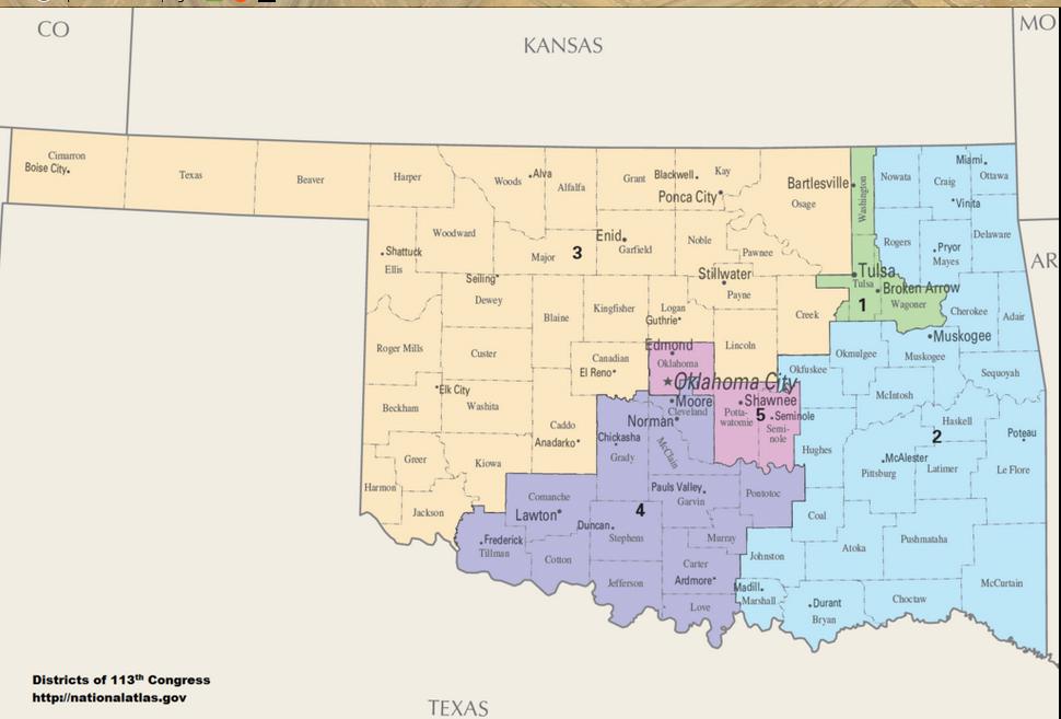 Oklahoma Senate Districts Map 2016